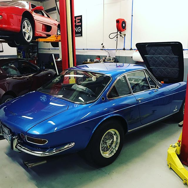 Friday at last! A lovely 365GTC in for an inspection #workshop #classiccars #ferrari #ferrari365 #blue #checkbeforeyoubuy