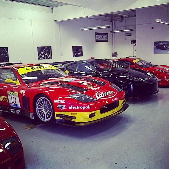 Flash back to 2011 in our watford workshop. Some heavy duty race cars! #ferrari #575gtc #430gtc #430challenge #f40 #restoration #race #racecar #britcar #sbrace #sbr #sbraceengineering