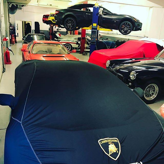 Busy as usual... #lamborghini #ferrari #racecar #realracecars #pfcoupe #classiccars #specialist #service #michelotto #430gt2