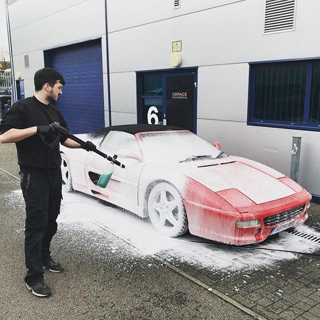 355 getting the #snowfoam treatment #355 #ferrari #sbraceengineering #detail #takecareofit #engineering #carwash