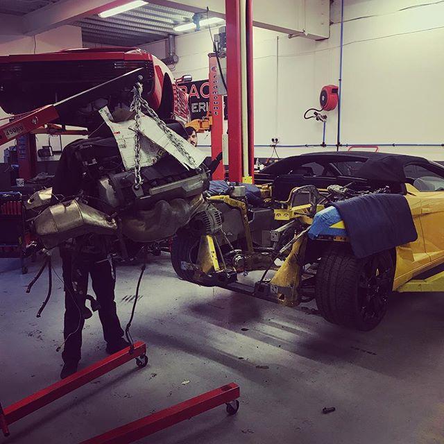 Gallardo engine out for a suspect noise! Hopefully not too much damage done already. #lamborghini #engineering #enginebuild #noisey #sbraceengineering #gallardospyder #yellow
