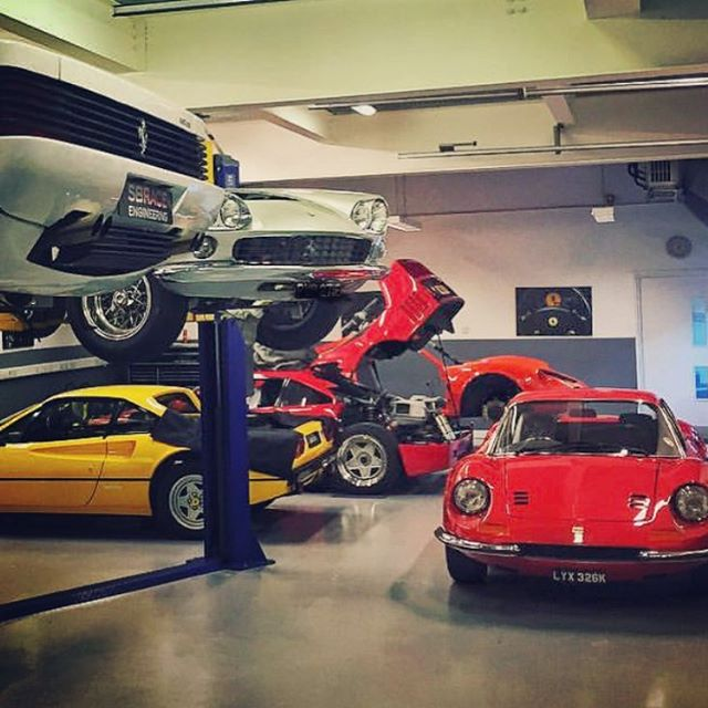 Bit of a mix! #dino #x2 #F40 #testarossa #308 #330 #ferrari #collection #noracecar #sbr #sbraceengineering #workshoplife #tidy #specialists #carsandcoffee #supercars #hertfordshire
