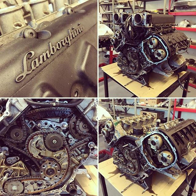 The Raging Bull! Not raging today....Lamborghini Gallardo engine with some issues. #lamborghini #gallardo #enginebuild #chains #noise #ragingbull #sbraceengineering #specialist #london #hertfordshire #justanotherday