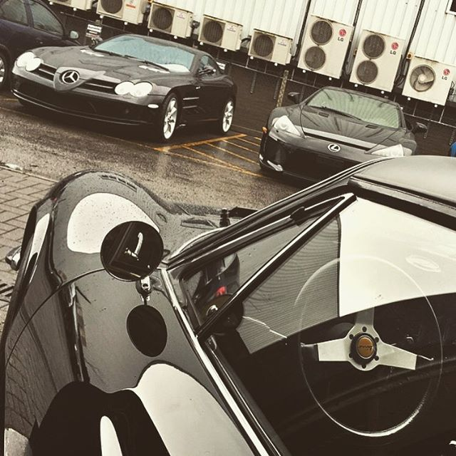 Miserable weather but always interesting cars at SB.  #Ferrari #Dino #GTS #Mercedes #246dino #McLaren #SLR #Lexus #LFA #Supercar #lexuslfa #SBRaceEngineering #SBR #Race #Engineering #London #Supercar #Specialist #Nero #SupercarsofLondon #Amazingcars247 #black #sbraceengineering